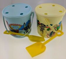 Lot of 2 Vintage McDonald's Happy Pail with Shovel 1984 1983 Olympic Games Blue