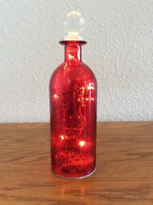 Decorative Red Colored (LED Lght) Glass Bottle w/Stopper w/Glass Top Pre-owned