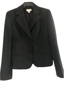 Ann Taylor Loft Blazer Jacket  Black Striped Size 4 MSRP $149