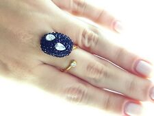 HOT NEW TRENDY TURKISH JEWELRY 925 STERLING SILVER 22k GOLD PLATED RING R2084