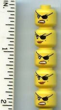 LEGO x 5 Yellow Minifig, Head Dual Sided Female with Eyepatch, Smile Angry Mouth
