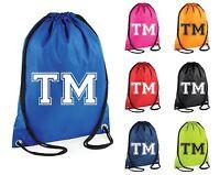 Personalised Initials Name Gym Bag Swim Bag Drawstring School PE Kit Sports Kids