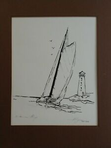 ELYSE SIGNED PENCIL INK SKETCH MATTED PRINT BAHAMA SLOOP NAUTICAL ART