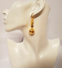 Pair Earring Heart/ Round Ball Charm Drop Dangle 18K Gold Plated Ear Jewelry