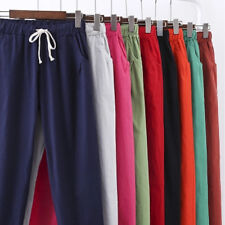 Women Lady 3/4 Length Flared Casual Loose Trousers Cotton Linen Breathable Pants