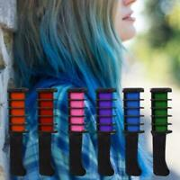 6PCS Temporary Hair Chalk Hair Color Brush Comb Dye Salon Fans Kit Party G8J6