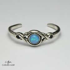 Azure Stone Ladies New inc Gift Bag Solid 925 Sterling Silver Toe Ring Blue