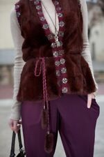 Real natural chinchilla fur vest burgundy color Sz. S Handmade boho chic hippie