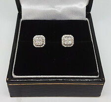 Fabulous 18ct White Gold 24pts Diamond Cluster Stud Earrings. Goldmine Jewellers