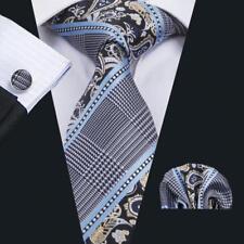 Classic Mens Necktie Silk Tie Set Blue Black Green Paisley Floral Woven Wedding
