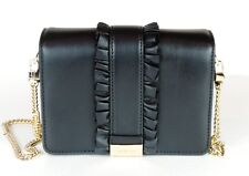 New Michael Kors Jade MD Gusset Clutch  ruffles bag leather snap black leather