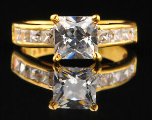 Solid 14KT Yellow Gold Princess Cut 2.60 Carat Solitaire Engagement Women's Ring