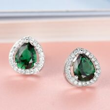 Women Engagement Teardrop Green Emerald Gemstone Crystal Small Stud Earrings