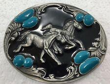 Siskiyou Two Horses Belt Buckle Pewter Black Enamel Blue Stones J-7 1994