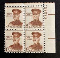 US Stamps, Scott #1214 Plate Block 1961 8c Gen. John J Pershing XF/Superb M/NH