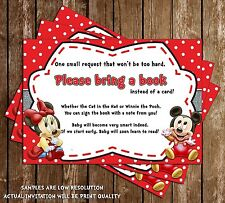Mickey & Minnie Mouse - Baby Shower - Bring a Book Insert - 15 Printed