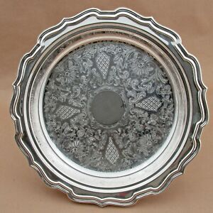 """Vtg Eales of Sheffield 1779 Small Round SilverPlate Scalloped Butlers Tray 12"""""""