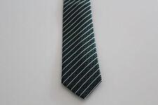 NEU Herren Krawatte Binder Schlips Seide 150 cm grün schwarz weiß gestreift OVP