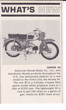 1964 HONDA 90 MOTORCYCLE  ~  NICE ORIGINAL SMALLER NEW INTRO ARTICLE / AD