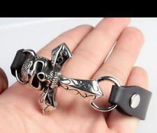 Genuine leather Stainless Steel Biker Large Cross Skull charms Bracelet Bangle