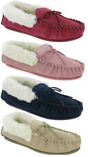 Mokkers Real Suede Wool Mix Warm Lining Moccasins Slippers Ladies TPR Sole UK3-9