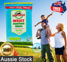 4 x 6pk Insect Repellent Wipes Low Scent Buzz Wipes 15cmx20cm