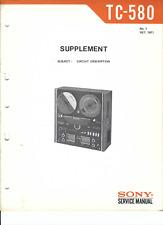 Sony Original Service Manual für  TC- 580 Ergänzung Schaltungsbeschreibung