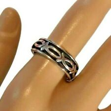 Christian Ichthus Fish 925 Sterling Silver Meditation Spinning Ring  Size 8