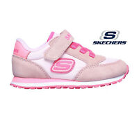 Girls Skechers Trainers Pink Suede Retro Sneaker Strap Light Comfortable Easy On