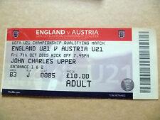 Billete-Inglaterra v Austria, UEFA U-21 campeonato que cumplen los requisitos coinciden, 7 de octubre de 2005