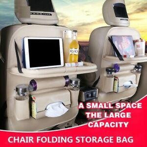Car Seat Back Organizer PU Leather Pad Foldable Table Tray Travel Storage Bags