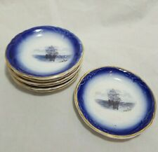 Set of 7 La Francaise Flow Blue Butter Pats Sailing Ship French Early 1900s