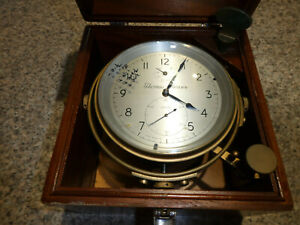 Thomas Mercer Antique Ships Chronometer Clock in Wooden Case with Key
