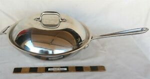 "All-Clad 12"" Stainless Steel Chef's Wok Pan Frying W/ Domed Lid USA Very Nice"
