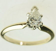 14K Yellow Gold 1/2 CT Pear Cut Diamond Solitaire Engagement Estate Ring