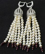 red garnet tassle zircon hook earring one pair freshwater pearl white near round