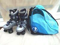 PHOENIX QUAD BOYS ROLLER SKATES,SIZE J13 UK,WELL PADDED LINERS,SFR BAG,V/G CLEAN
