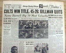 1959 hdlne newspaper BALTIMORE COLTS win DIVISION & Go to NFL CHAMPIONSHIP GAME