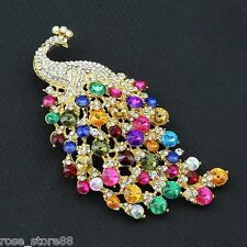 New Elegant Large Peacock Peafowl Brooch Pin Colorful Austrian Crystal Gold Tone