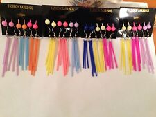 6 pairs Neon Candy Colored Stick Earrings Matching Sphere Ball Fashion Jewelry