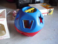 Vintage 1970s Tupperware Shape o Ball Toy with 9 Pieces
