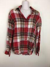 Jones New York Women's Linen Plaid Button Down Shirt Red Brown White Size Small