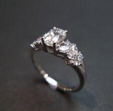 VINTAGE OVAL 2.00 CT DIAMOND SOLID 14K WHITE GOLD ENGAGEMENT WEDDING RING SET
