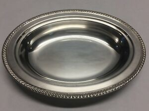 """11 1/2"""" Silver Plated Oval Serving Bowl Dish Plate Marked w/ S Sheridan?"""