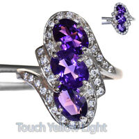 COLOR CHANGE AMETHYST OVAL RING SILVER 925 UNHEATED 2.15 CT 7X5 MM.  SIZE 6.25