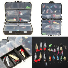 37pcs Metal Spoon Fishing Lures Hooks Kits Spinning with Box Tackle Accessory