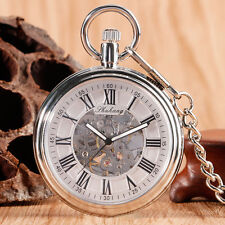 Vintage Open Face Roman Numbers Automatic Mechanical Men Women Pocket Watch Gift