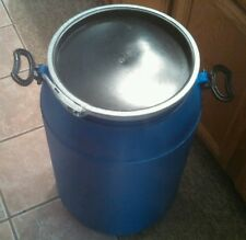20 Gallon Plastic Food Grade Drum Storage Barrel, Steel Ring, Removable Lid.