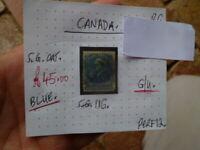 CANADA QUEEN VICTORIA 50c BLUE STAMP G/U.  S.G 116