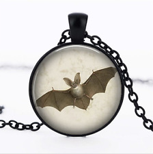 BiG Eared BaT from Black Glass Cabochon Necklace chain Pendant Wholesale